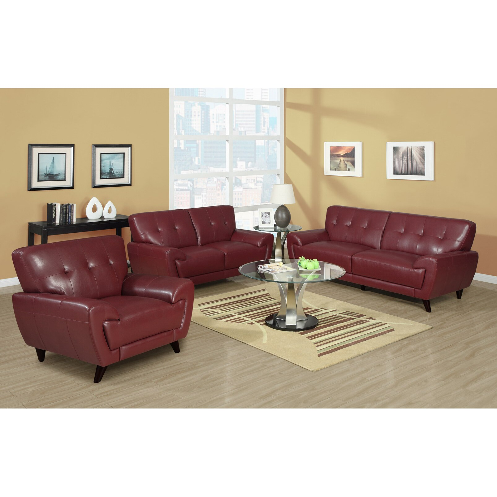 red bonded leather upholstery living room lounge couch seat sofa