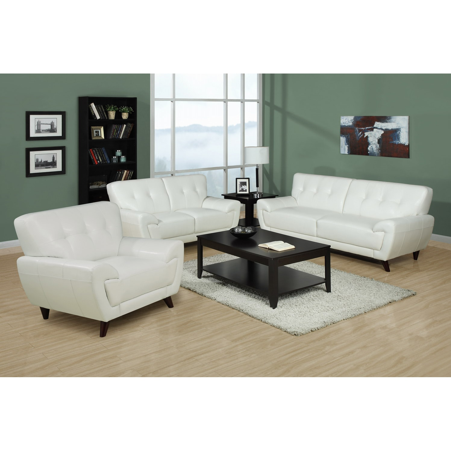 White Bonded Leather Upholstery New Living Room Lounge