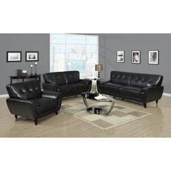 Black Bonded Leather Tufted Sofa