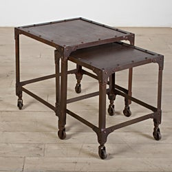 Set Of 2 Dark Brown Iron Tables (India)