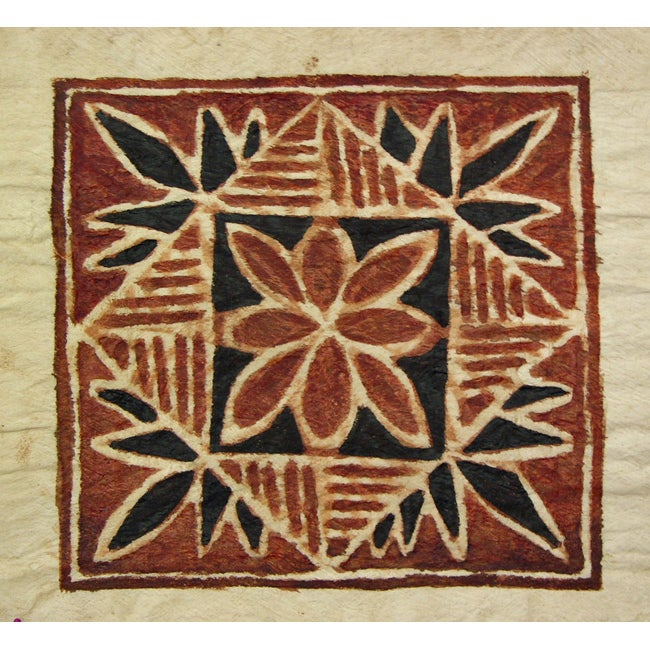 Leaf Siapo Bark Cloth Art , Handmade in Samoa