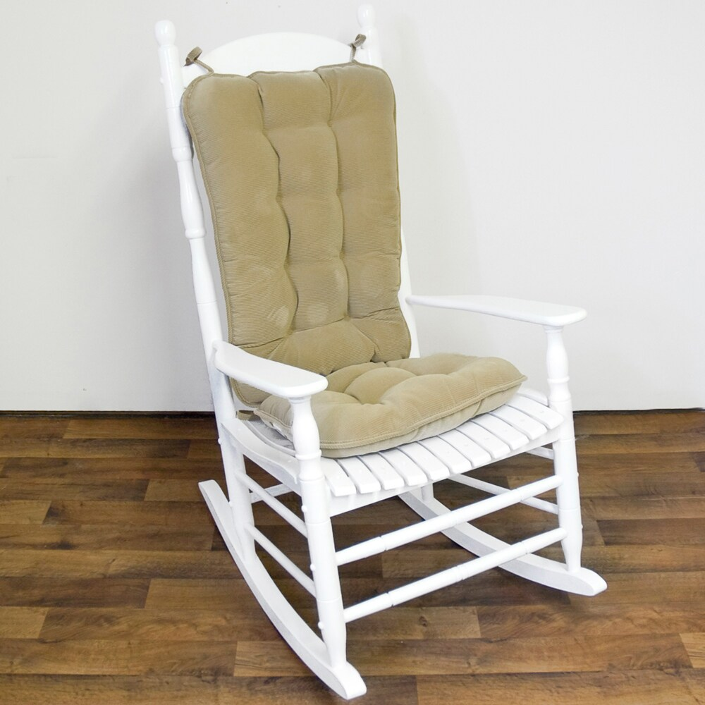 Khaki Ribbed Microfiber Jumbo Rocking Chair Cushion Set
