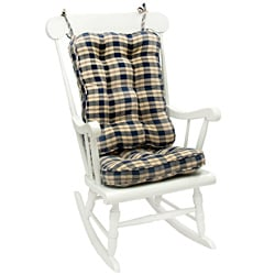 Blue Plaid Standard Rocking Chair Cushion Set