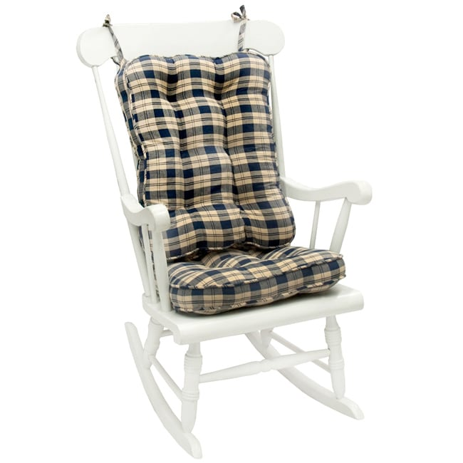 Navy Plaid Standard Rocking Chair Cushion Set