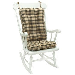 Olive Plaid Standard Rocking Chair Cushion