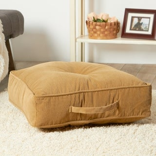 Greendale Home Fashions Ribbed Microfiber 20-inch Buff Square Floor Pillow