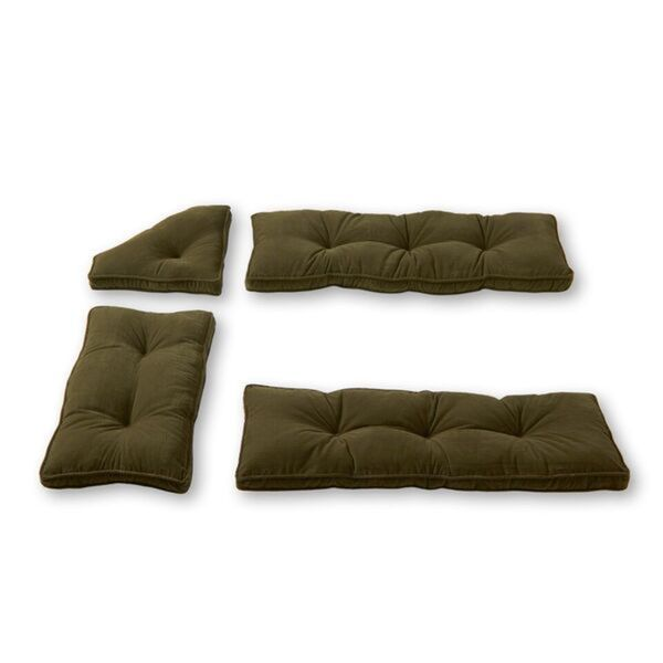 Nook Willow Green Ribbed Microfiber 4-piece Cushion Set