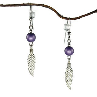 Jewelry by Dawn Purple With Feather Sterling Silver Earrings