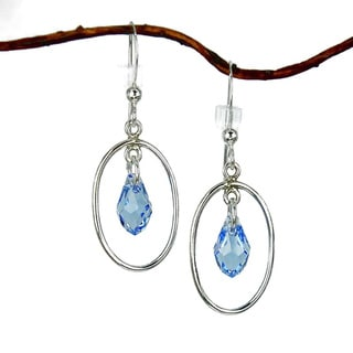 Oval Hoops With Blue Crystal Sterling Silver Earrings