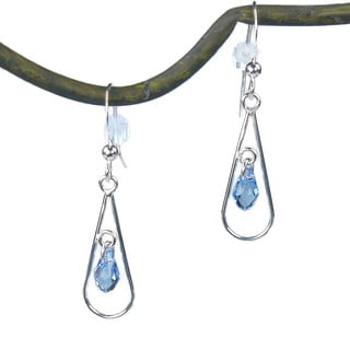 Teardrop With Blue Sterling Silver Earrings
