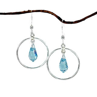 Jewelry by Dawn Hoops With Aquamarine Crystals Sterling Silver Earrings