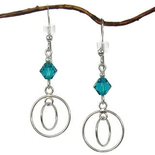 Jewelry by Dawn Double Hoops With Teal Crystals Sterling Silver Earrings