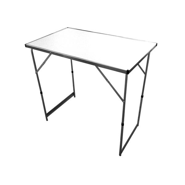 Slim Jim White Adjustable-height Aluminum Portable Folding Table