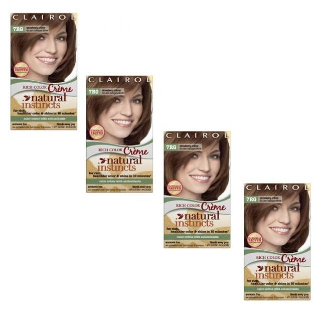 Clairol Natural Instincts 7RG Strawberry Crème Dark Mahogany Blond Hair Color (Pack of 4)
