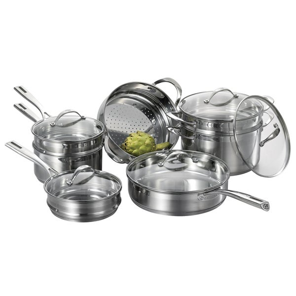 Cat Cora 12-piece Stackable Stainless Steel Set