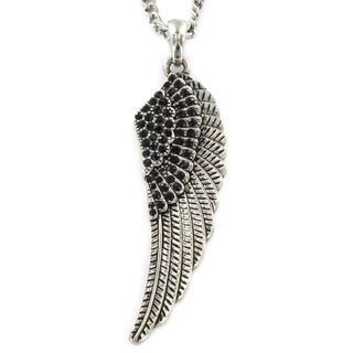 Silvertone Black Acrylic Stone Feather Wing Necklace