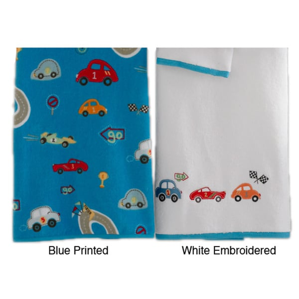 Race Car Embroidered or Velour Printed 6-pc Towel Set