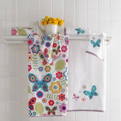 Butterfly Embroidered or Velour Printed 6-piece Towel Sets