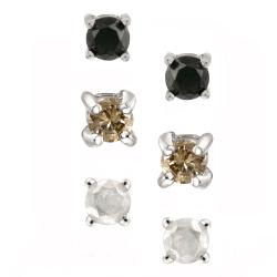DB Designs Sterling Silver 3/8ct TDW Diamond Stud Earrings (Set of 3)