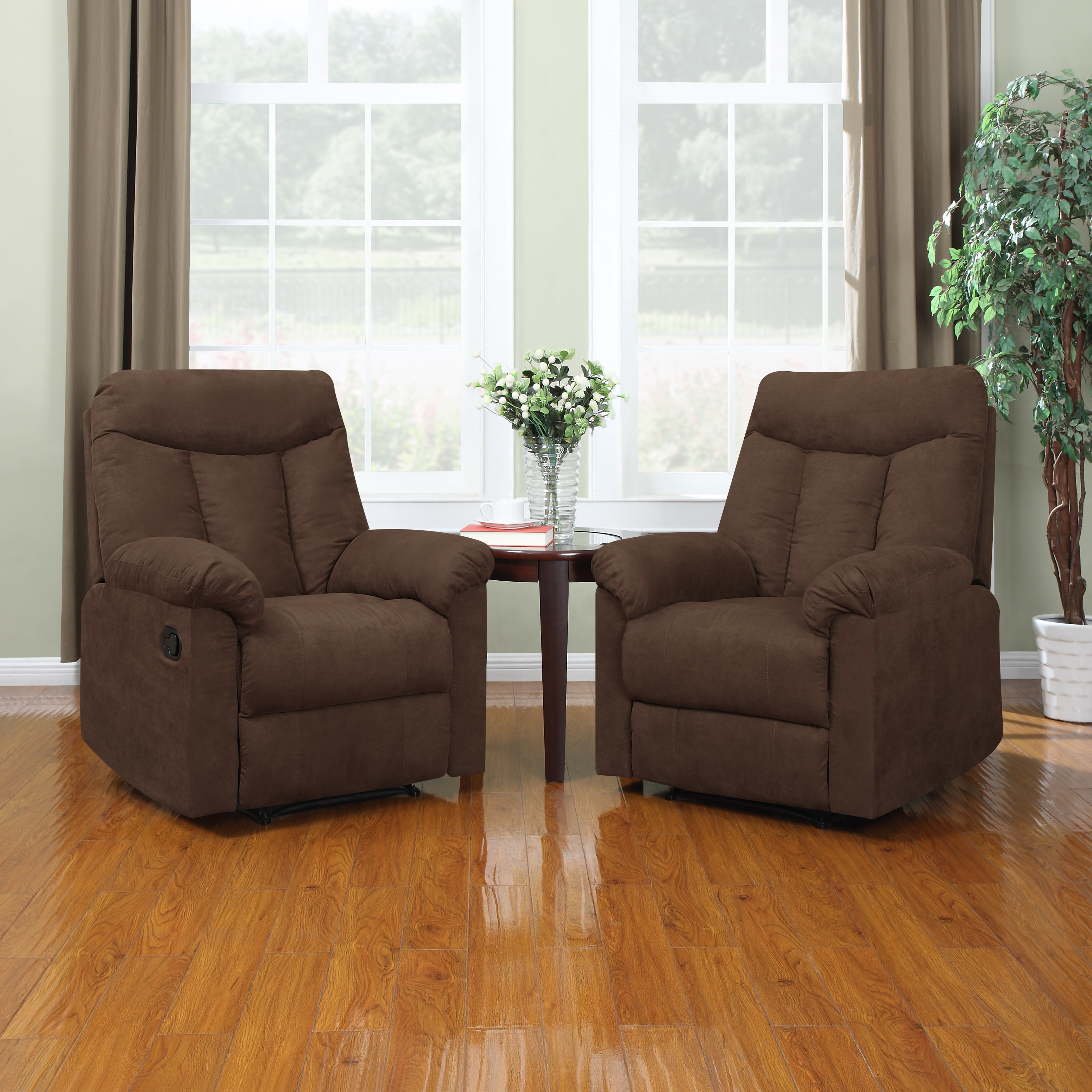 Portfolio ProLounger Wall Hugger Dark Brown Microfiber Recliners (Set of 2) at Sears.com