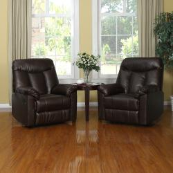 ProLounger Wall Hugger Coffee Brown Renu Leather Recliners (Set of 2)