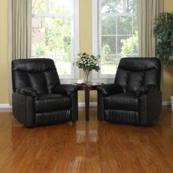 ProLounger Wall Hugger Black Renu Leather Recliners (Set of 2)