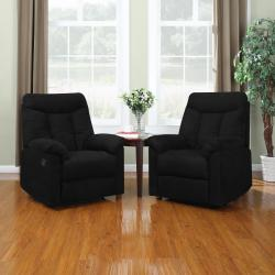 ProLounger Wall Hugger Black Microfiber Recliners (Set of 2)