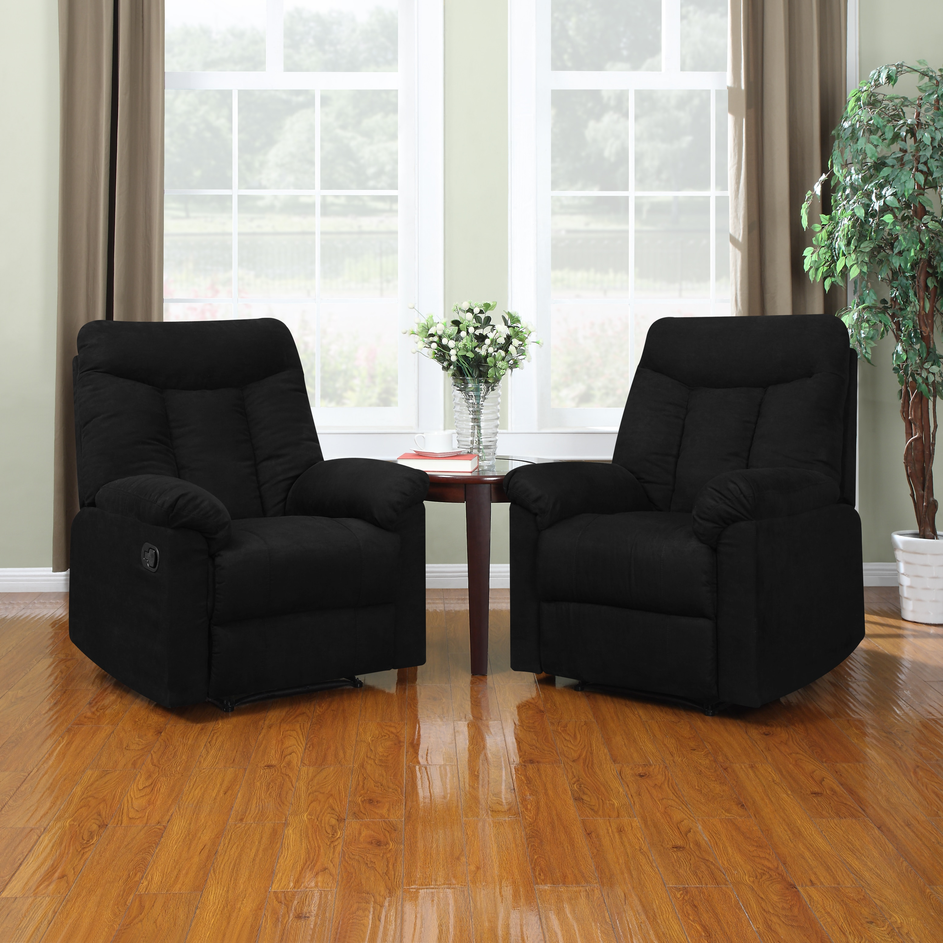 Portfolio ProLounger Wall Hugger Black Microfiber Recliners (Set of 2) at Sears.com