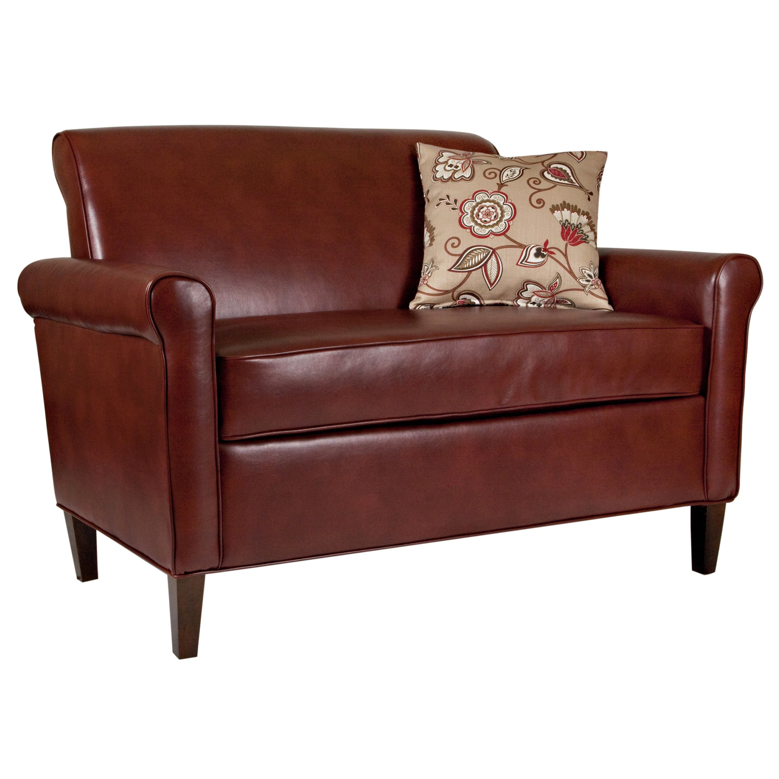 Deep Red Leather Sofas: Angelo:HOME Harlow Deep Wine Red Renu Leather Loveseat