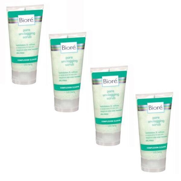 Biore Pore Unclogging 5-ounce Scrub (Pack of 4)