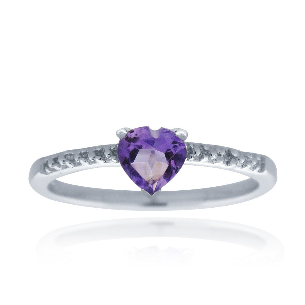 Glitzy Rocks Sterling Silver Amethyst and Diamond Accent Heart Ring