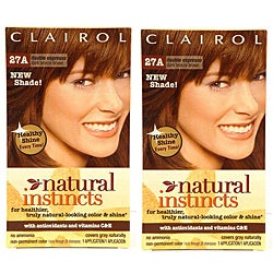 Clairol Natural Instincts #27A Double Espresso Dark Bronze Brown Hair Color (Pack of 4)