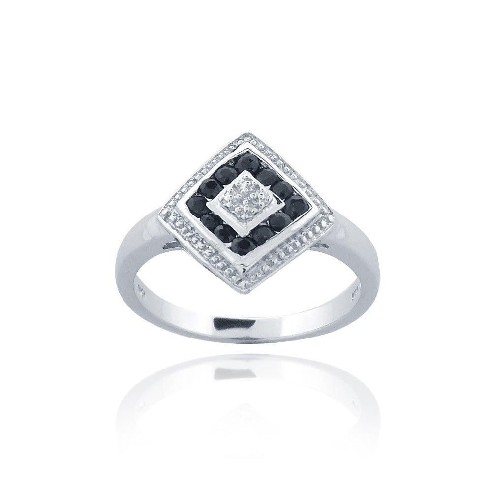 Glitzy Rocks Sterling Silver Sapphire and Diamond Accent Ring