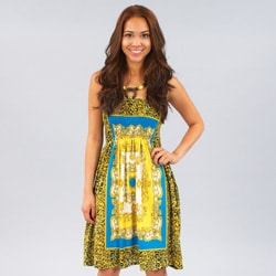 Meetu Magic Women's Gold/ Turquoise Mixed Print Beaded Halter Dress