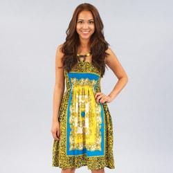 Meetu Magic Women's Gold/ Turquoise Mixed Print Beaded Halter Dress