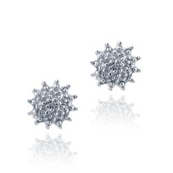 DB Designs Sterling Silver Diamond Accent Flower Earrings