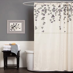 Lush Decor Flower Drop Ivory / Purple Shower Curtain