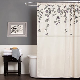 Lush Decor Flower Drop Ivory Shower Curtain