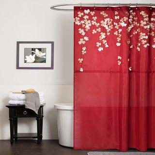 Lush Decor Flower Drop Red Shower Curtain