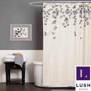 Lush Decor Flower Drop Ivory / Blue Shower Curtain