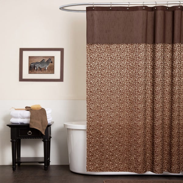 Lush Decor Leopard Brown Shower Curtain