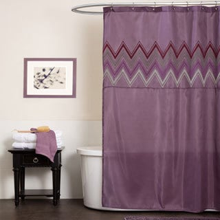 Lush Decor Myra Plum Chevron Shower Curtain