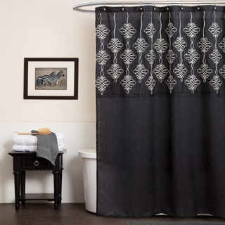 Lush Decor Isabella Black Shower Curtain