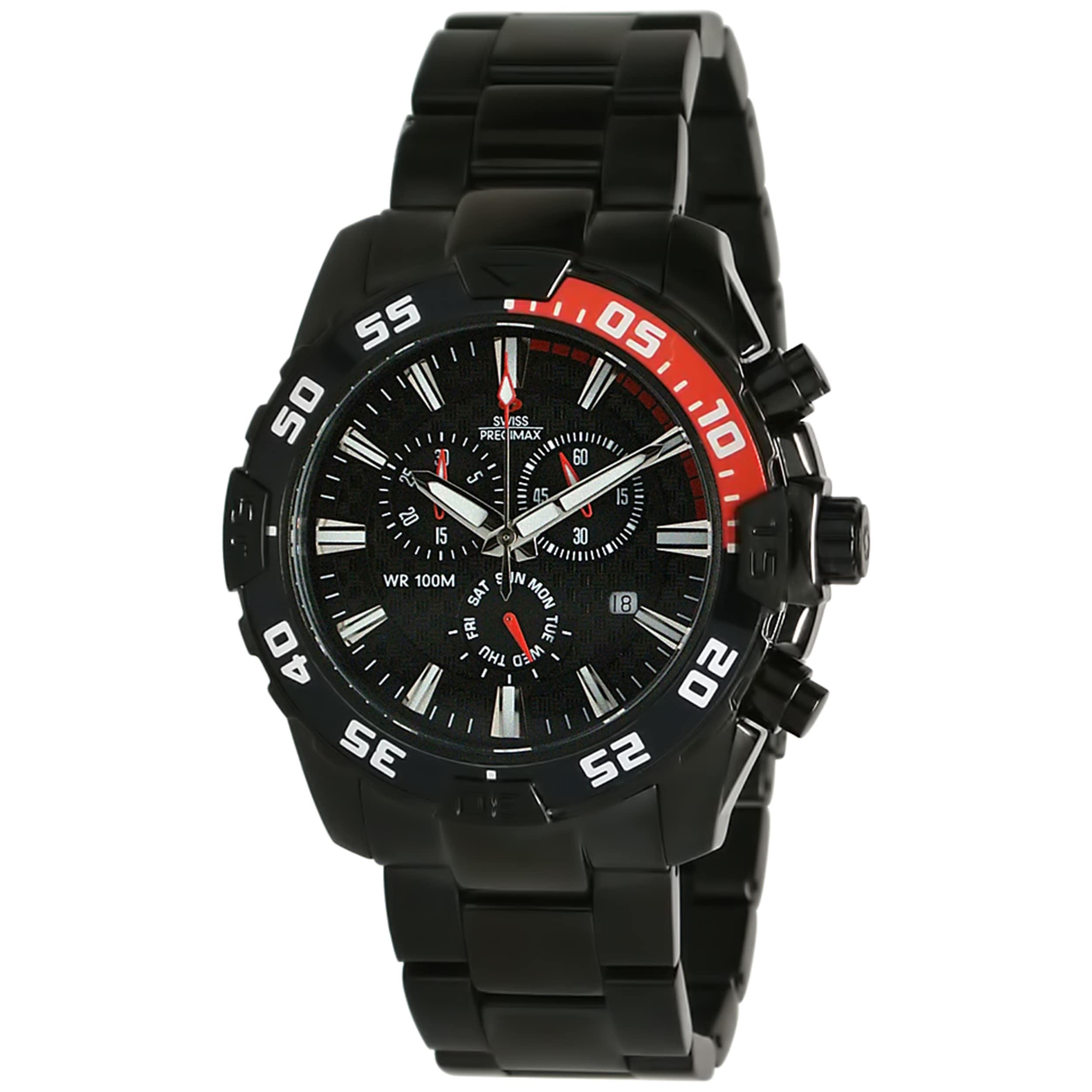 Swiss Precimax Men's Formula 7 Pro Black Stainless-Steel Watch
