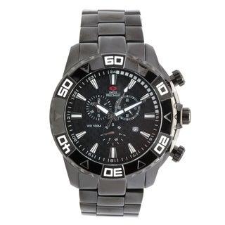 Swiss Precimax Men's Oversized Black Valor Elite Stainless Steel Watch