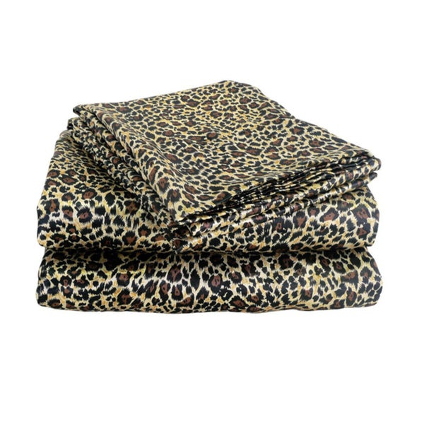 Charmeuse Satin Leopard Print Sheet Set and Pillowcase Separates