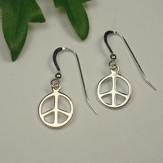 Sterling Silver Peace Sign Dangle Hook Earrings
