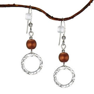 Copper With Hammered Circle Sterling Silver Earrings