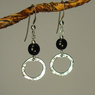 Black With Hammered Circle Sterling Silver Earrings
