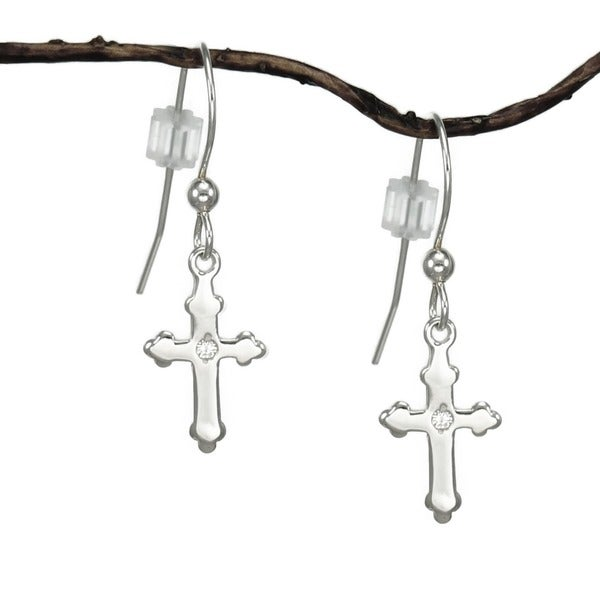 Jewelry by Dawn Small Sterling Silver Cross Dangle Earrings 9257497